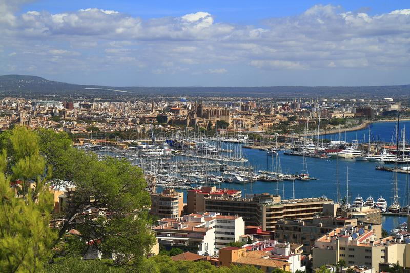帕尔马鸟瞰图在马略卡,巴利阿里群岛,西班牙 库存照片