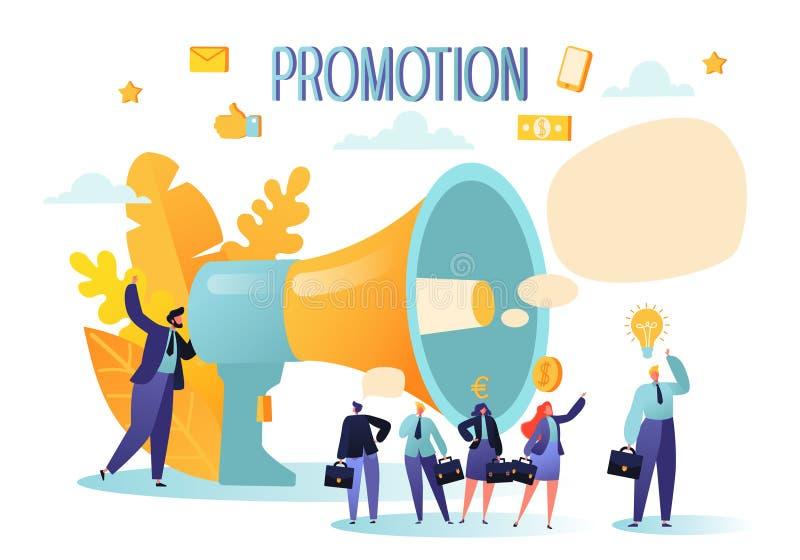 广告的概念,营销,促进 扩音器谈话与人群 皇族释放例证