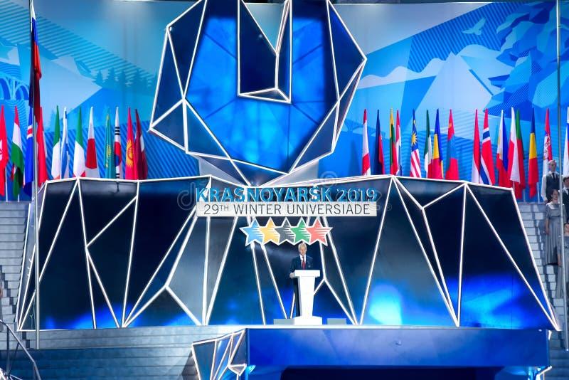 02 03 2019年 俄国 krasnoyarsk 世界大学生运动会的开业典礼2019年 库存图片