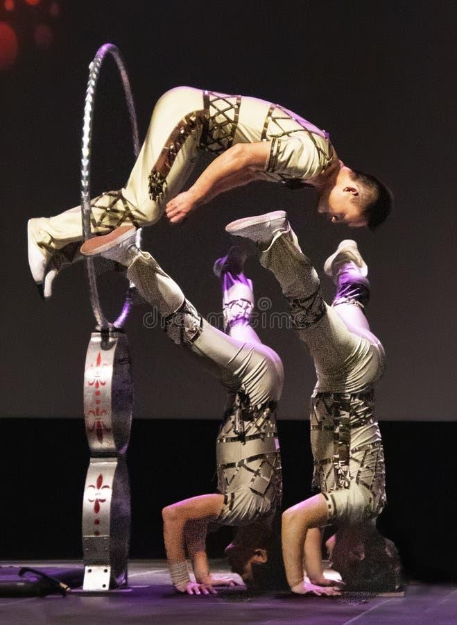 2019年公平地佛罗里达状态的五颜六色的中国马戏团执行者 免版税图库摄影