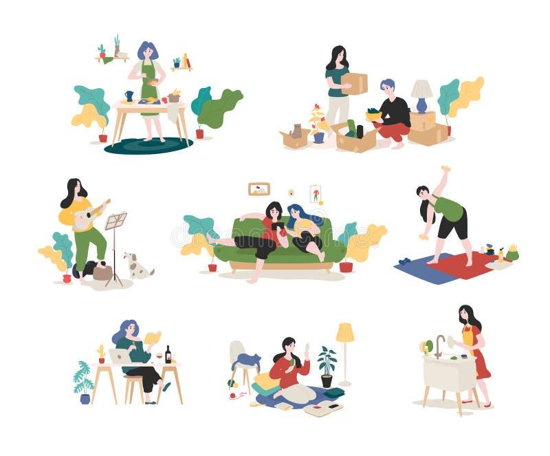 年轻人和妇女的一汇集在家度过周末-会集事,弹吉他,看书,冲浪 库存例证