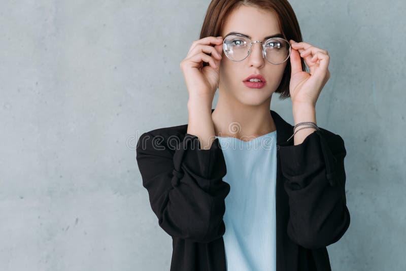 年轻企业夫人领导身分远景 免版税库存照片