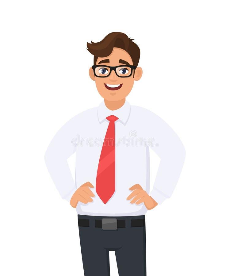 年轻商人画象在白色衬衫和红色领带的,握在臀部的手,站立反对白色背景 人力情感 向量例证
