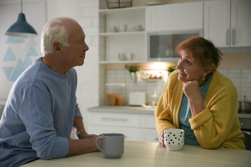 年长夫妇饮用的茶在桌上 库存图片