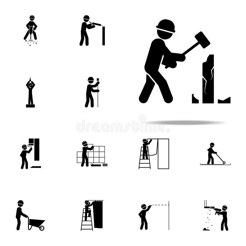 建筑,拆毁工作者象 网和机动性的建筑人象全集 向量例证