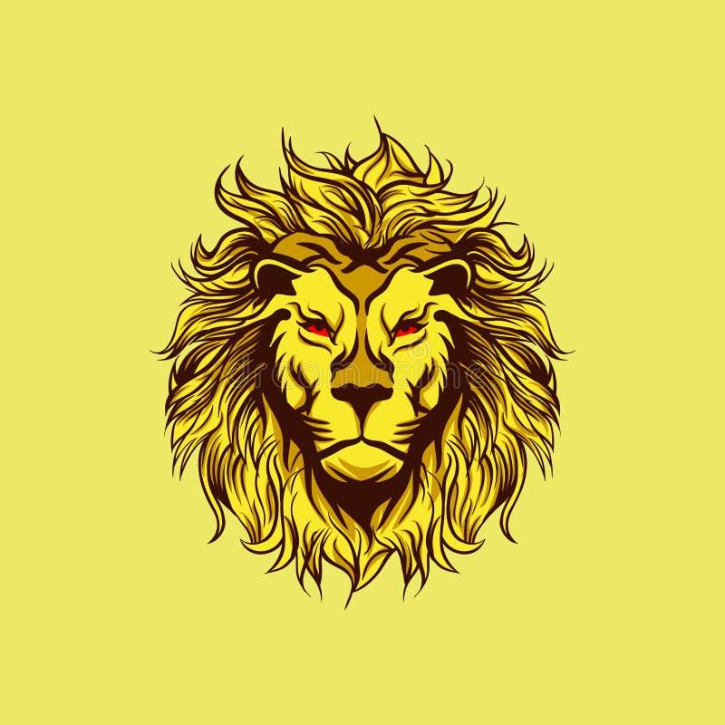 Żółta Gniewna lew maskotka ilustracji