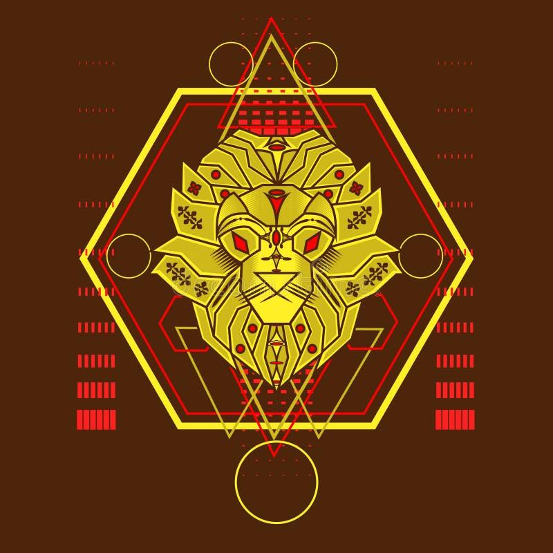 Żółty lew z Świętym geometria ornamentem royalty ilustracja