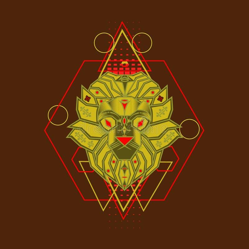 Żółty lew z Świętym geometria ornamentem ilustracji