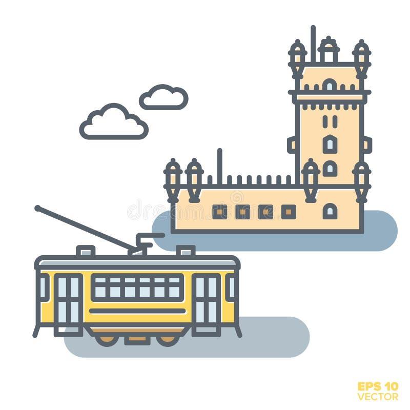 Żółty Lisbon tramwaj i Belem basztowy wektorowy illustrati royalty ilustracja