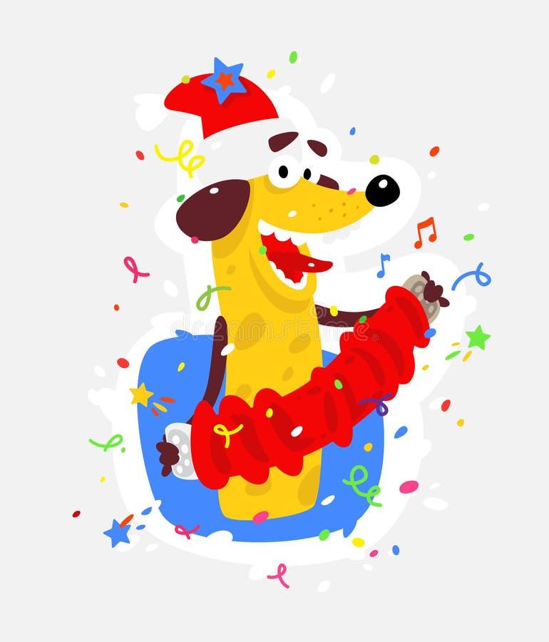 Żółty pies jest symbolem Chiński nowy rok Wektorowa płaska ilustracja pies z akordeonem Wizerunek odizolowywa od royalty ilustracja