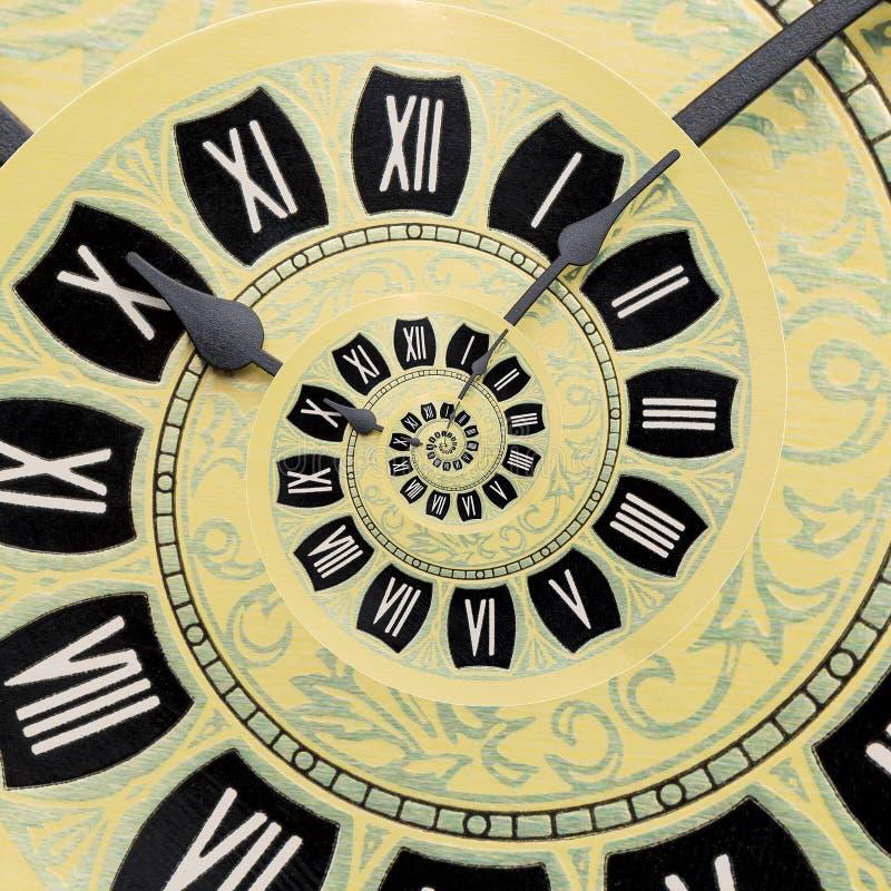 Żółty retro stary zegar spirali abstrakta tło Antyka fractal zegarowy tło Czasu ślimakowaty surrealistyczny zegar fotografia stock
