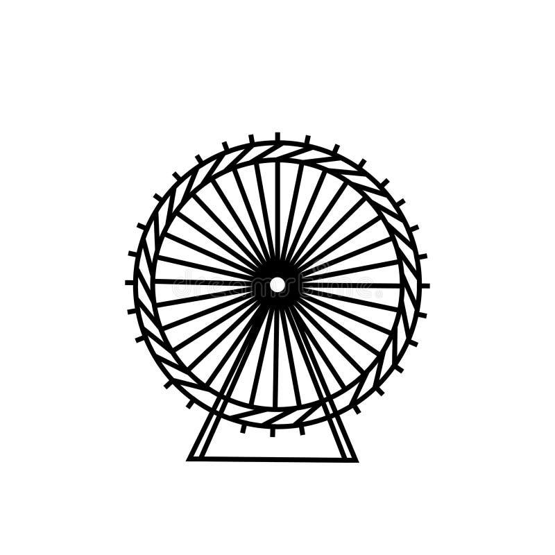 弗累斯大转轮和剪影圈子 狂欢节 游艺集市背景 转盘,行动 也corel凹道例证向量 库存例证