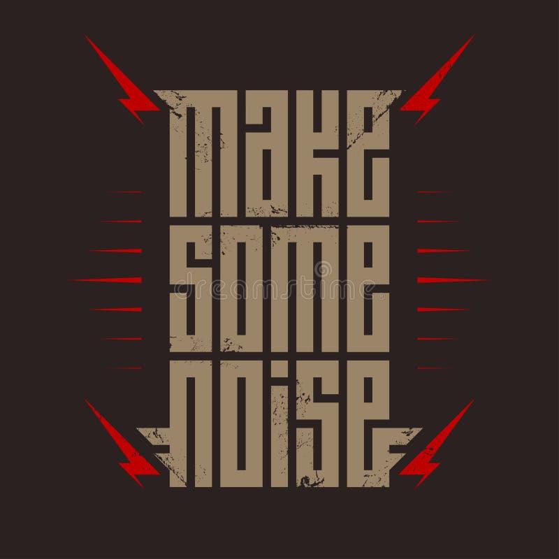 弄出一些声响-与红色闪电的音乐海报 岩石T恤杉设计 T恤杉服装冷却印刷品 皇族释放例证