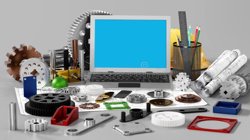 引擎图画和机械工程 库存例证