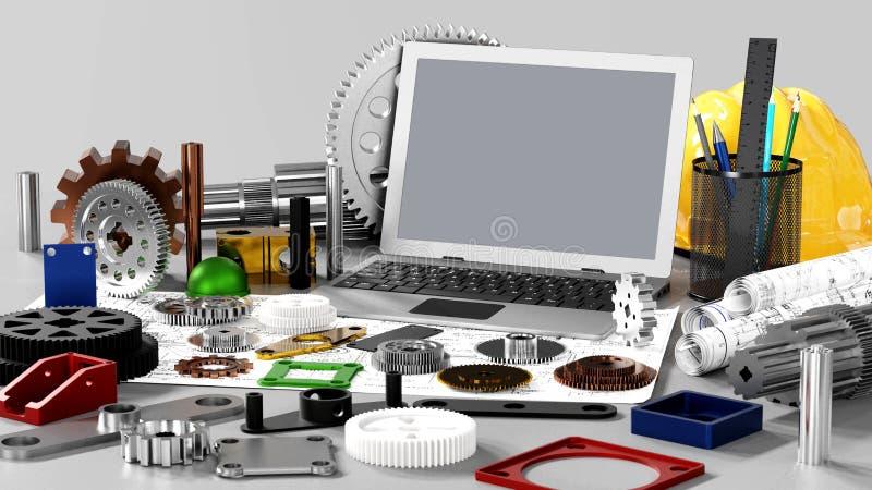 引擎设计和机械工程 皇族释放例证