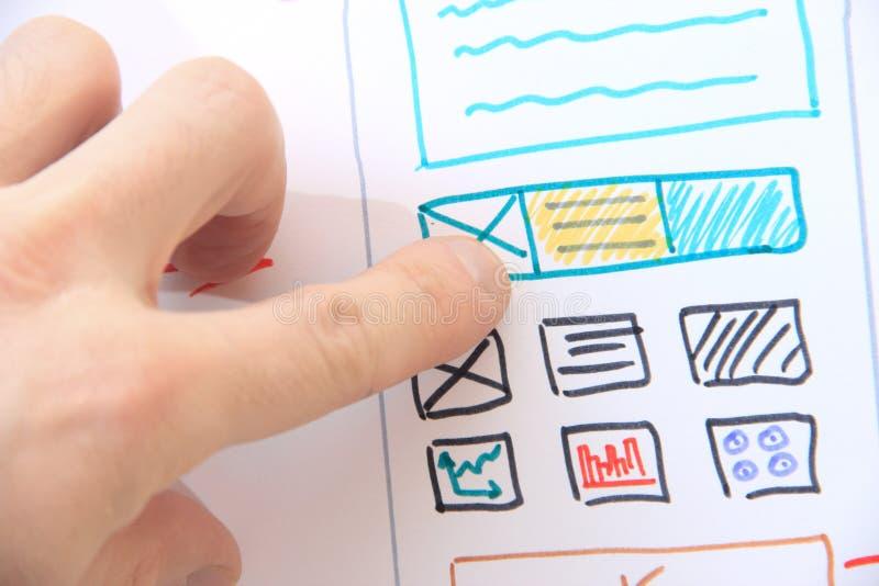 开发商软件设计师与设计一起使用 免版税库存图片