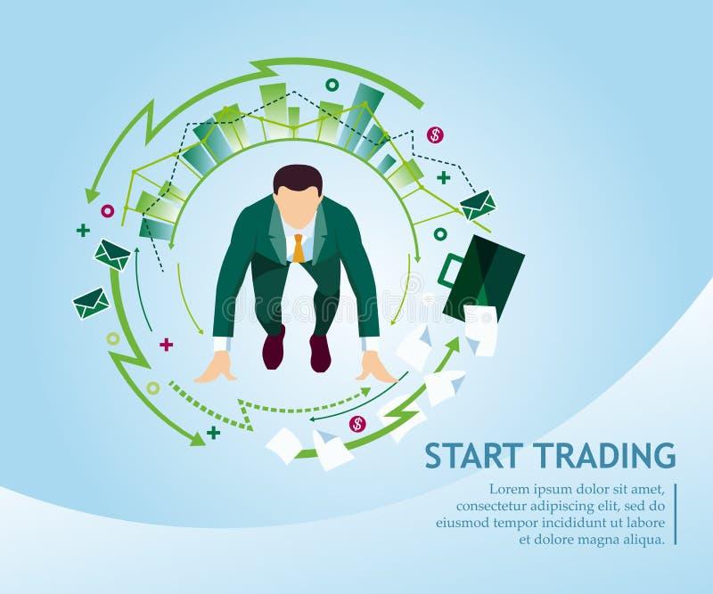 开始贸易 企业概念汇集 也corel凹道例证向量 向量例证