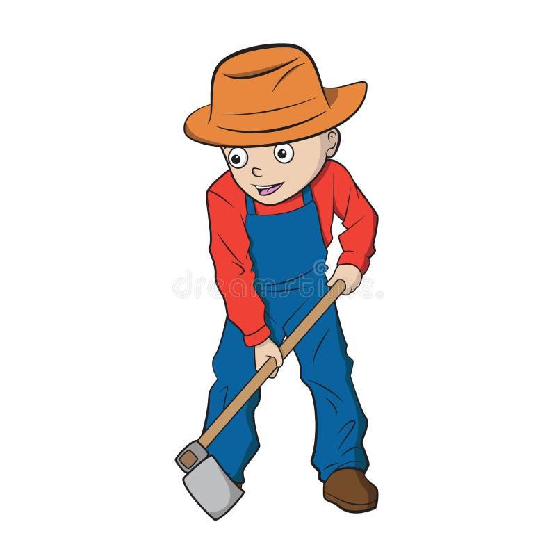 开掘地面的动画片男孩 库存例证
