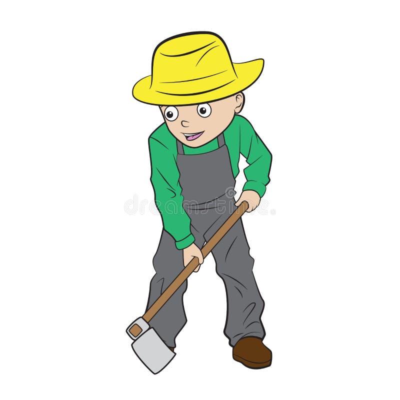 开掘地面的动画片男孩 皇族释放例证