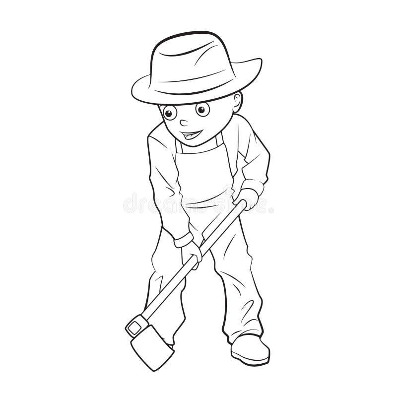 开掘地面的动画片男孩 向量例证