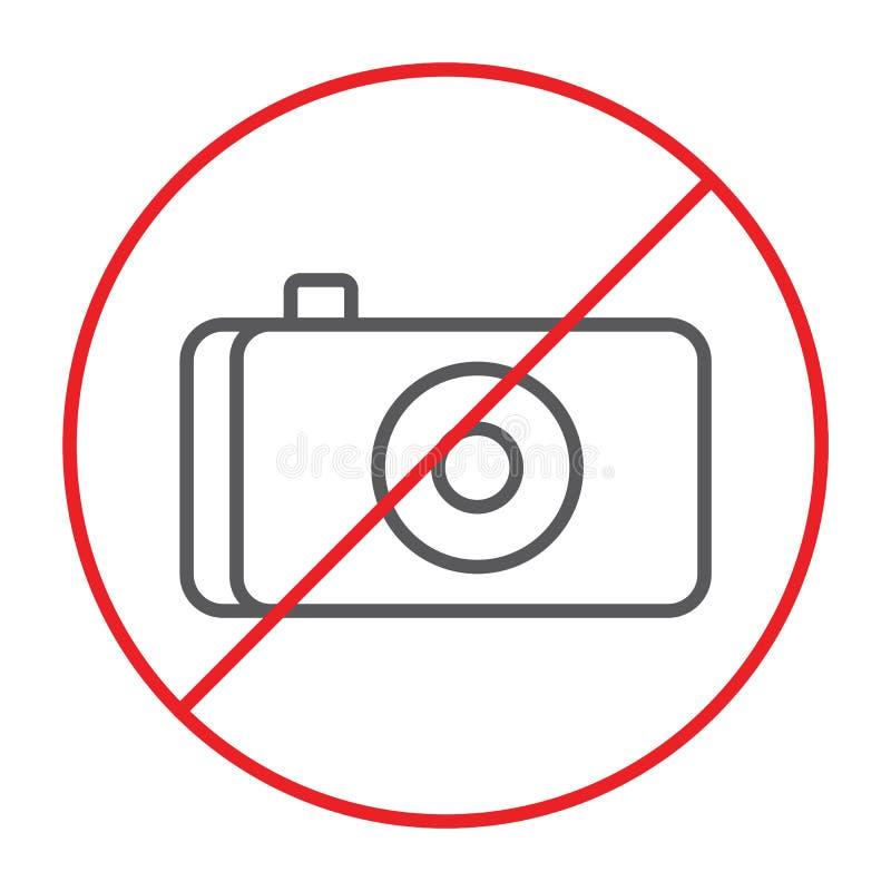Żadny fotografii cienka kreskowa ikona, zakaz i żadny kamera znak, zabraniająca, wektorowe grafika, liniowy wzór na białym tle royalty ilustracja
