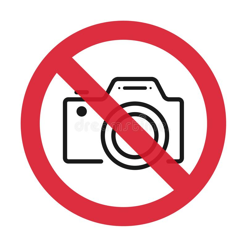 Żadny kamery pozwolić znak Płaska ikona w czerwieni krzyżującej za okręgu również zwrócić corel ilustracji wektora royalty ilustracja