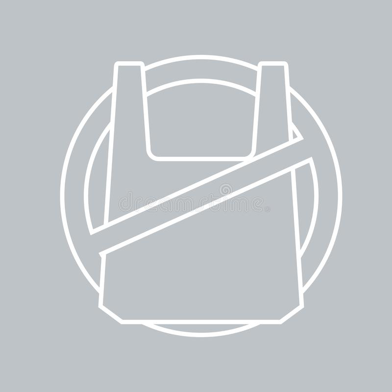 Żadny plastikowy worek ikona na szarym tle dla jakaś okazji ilustracji