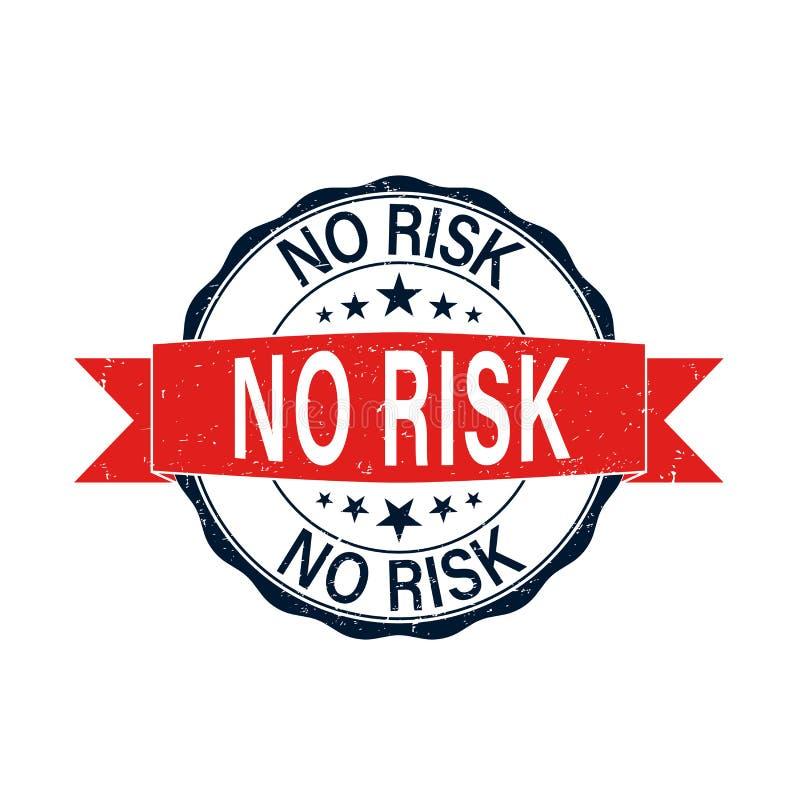Żadny ryzyka round czerwona grungy pieczątka odizolowywająca na bielu ilustracja wektor