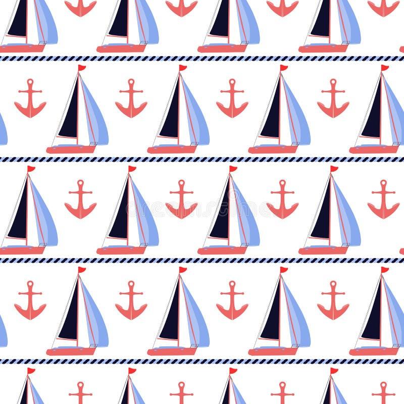 Żagiel łodzi i koral kotwic nautyczny wektorowy druk royalty ilustracja