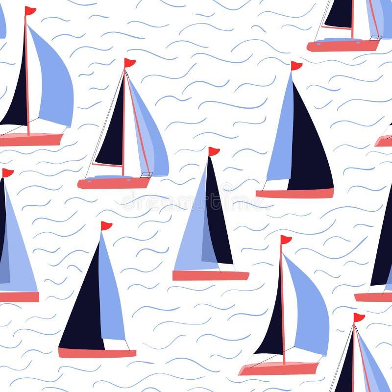Żagiel łodzie i fala wektor powtarzają nautycznego druk royalty ilustracja