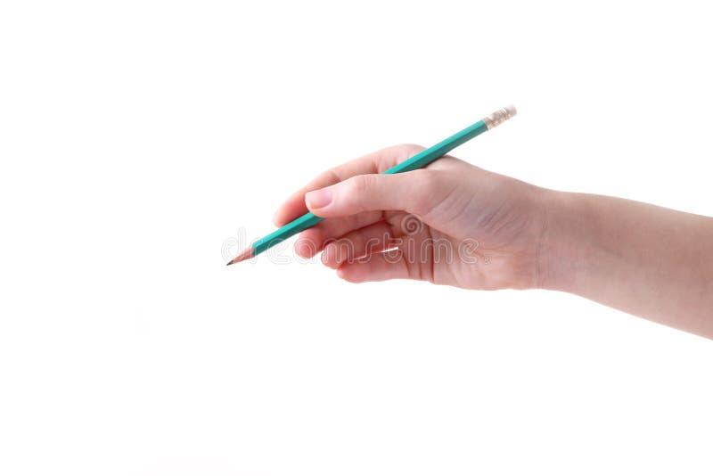Żeńska ręka z ołówkiem odizolowywającym na białym tle zdjęcie royalty free