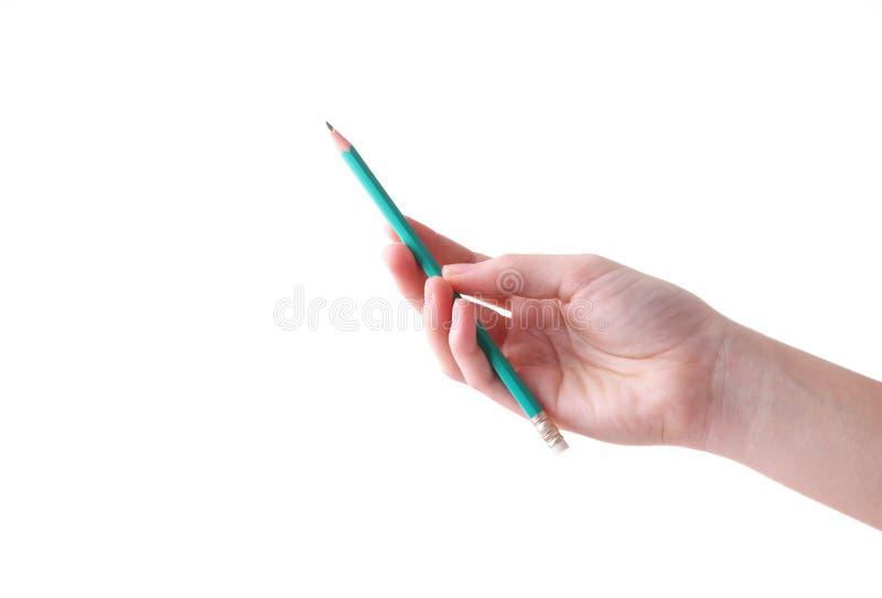 Żeńska ręka z ołówkiem odizolowywającym na białym tle zdjęcia stock