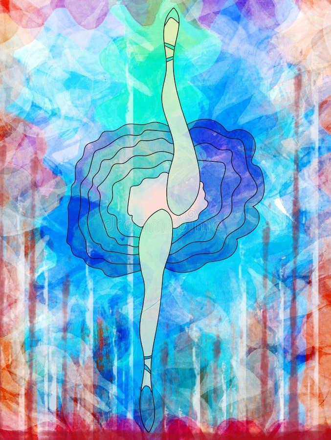 Żeński baletniczy tancerz w baletniczej spódnicie i butach tanczy rozciągać nogi, royalty ilustracja