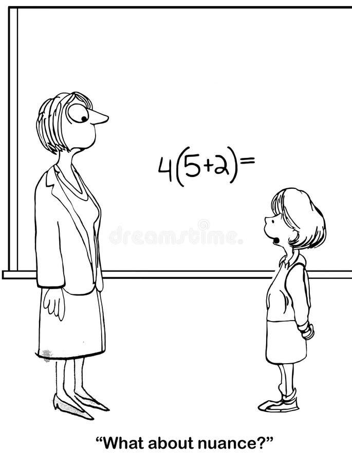 Żeński nauczyciel matematyki chce odpowiedzi ilustracja wektor