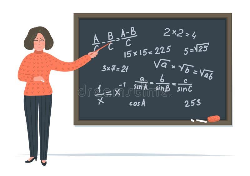 Żeński nauczyciel matematyki ilustracji