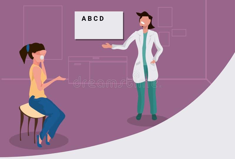Żeński oftalmolog sprawdza kobieta wzroku cierpliwą lekarkę wskazuje listy przy oko mapy opieką zdrowotną w mundurze ilustracja wektor
