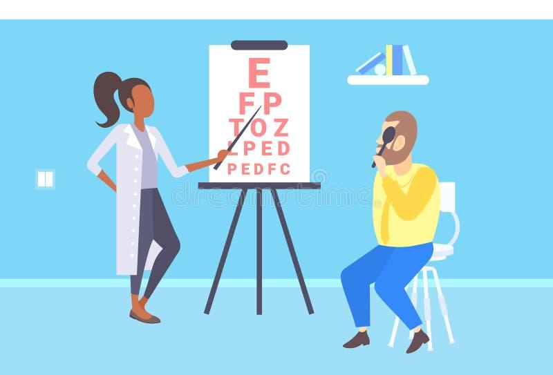 Żeński oftalmolog sprawdza męską cierpliwą wzrok lekarkę wskazuje listy przy oko mapy medycyną w mundurze i ilustracja wektor