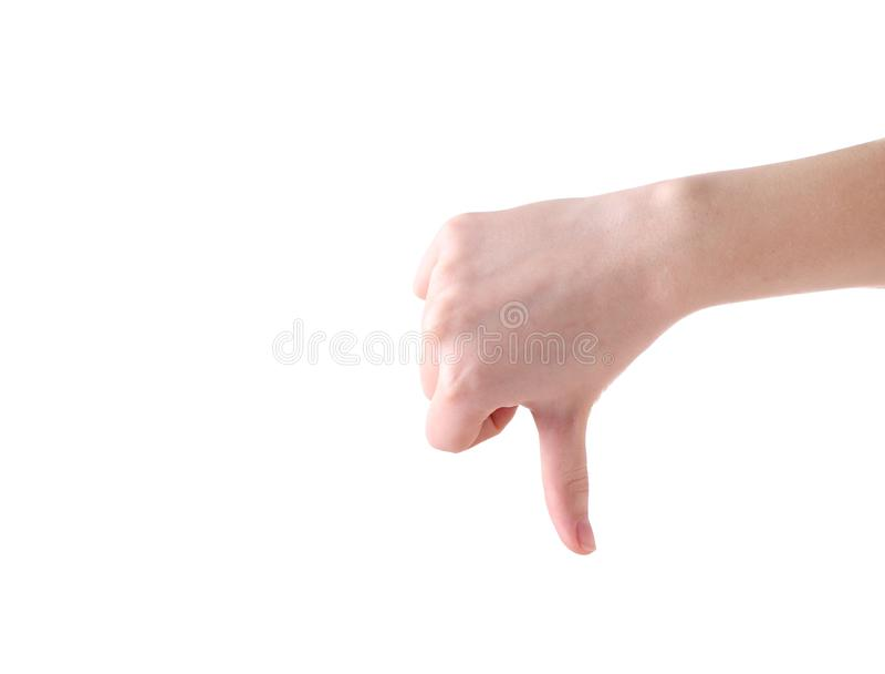 Żeński ręka gest odizolowywający na białym tle obraz stock
