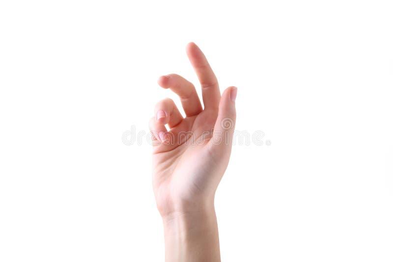 Żeński ręka gest odizolowywający na białym tle obrazy royalty free
