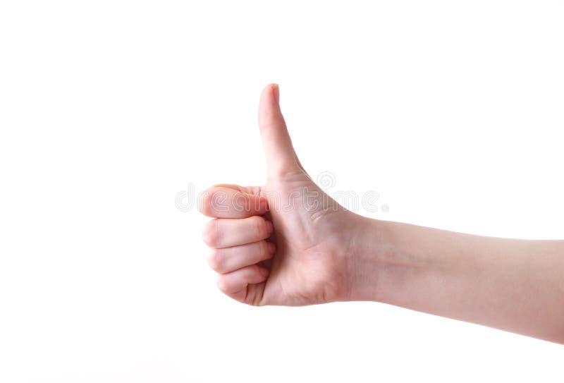 Żeński ręka gest odizolowywający na białym tle obraz royalty free