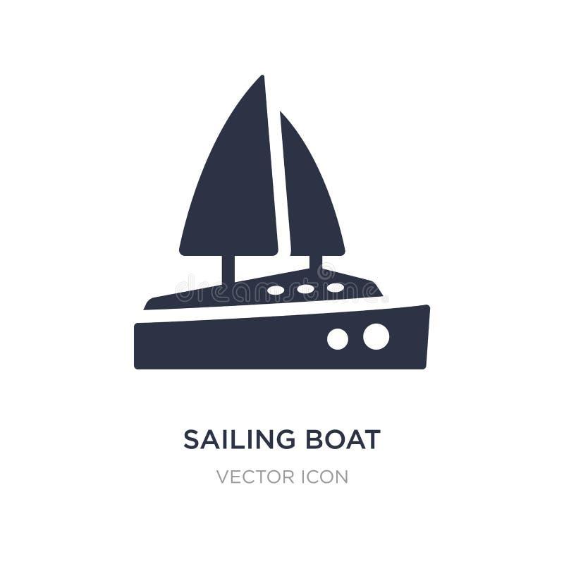 żeglowanie łódź z przesłony ikoną na białym tle Prosta element ilustracja od Przewiezionego pojęcia ilustracja wektor