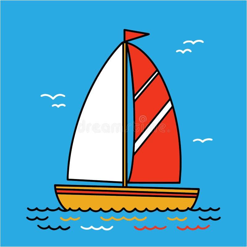 Żeglowanie jachtu kreskówki kwadrata płaska ikona, rysuje Łódź z żaglem i flagą żegluje na morzu, ilustracja wektor
