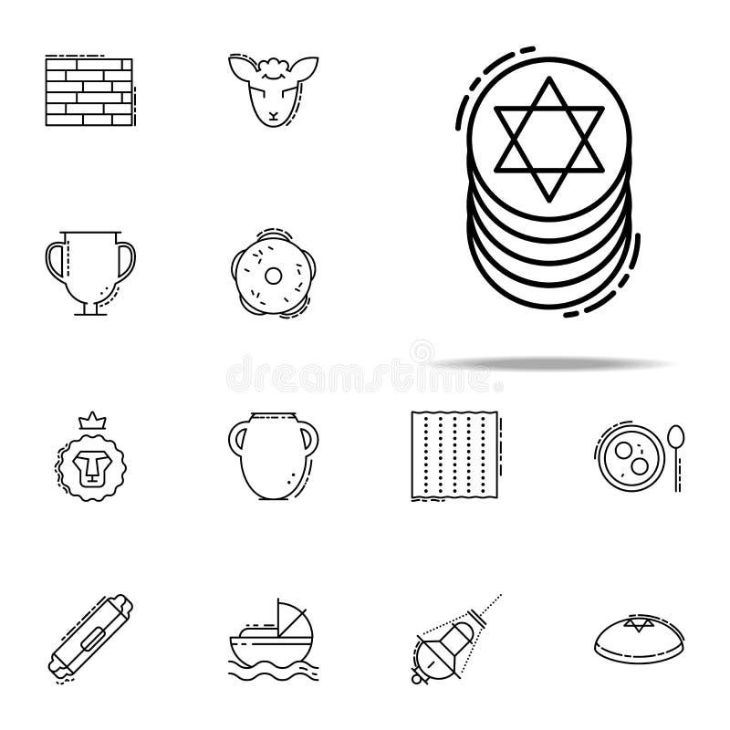 Żydowska monety ikona Judaizm ikon ogólnoludzki ustawiający dla sieci i wiszącej ozdoby ilustracji