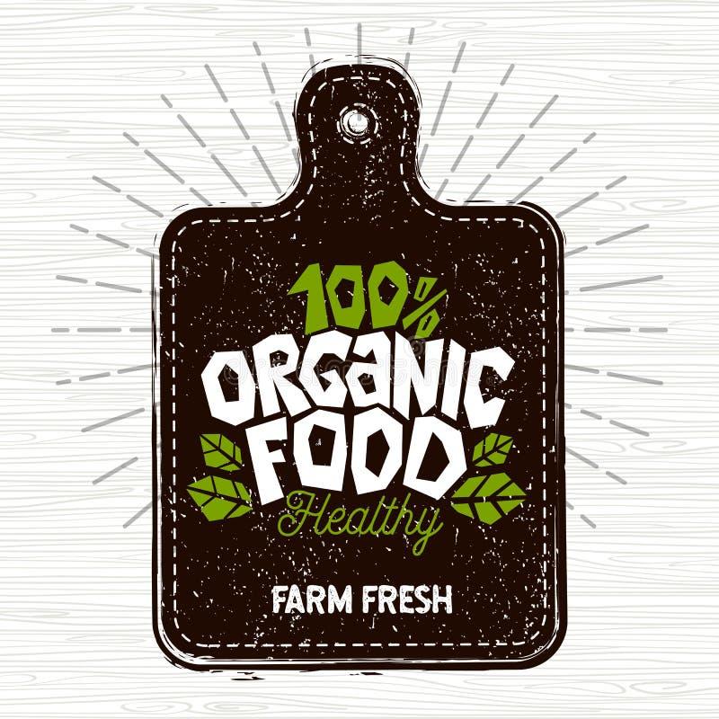 Żywność organiczna logo, rolna świeżej żywności etykietka, tnąca deska, promienie, drewno, elementy, emblemat dla eco sklepu, res royalty ilustracja