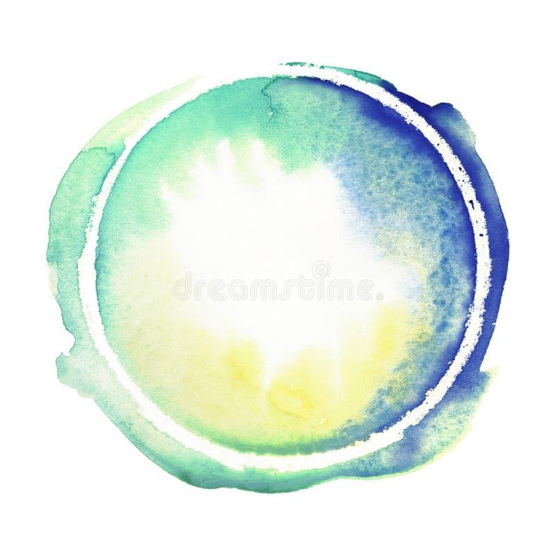 Żywy błękit, zieleń, szmaragd i kolor żółty akwareli okrąg, Jaskrawi pastelowi ręcznie robiony projektów elementy Multicolor mokr ilustracji
