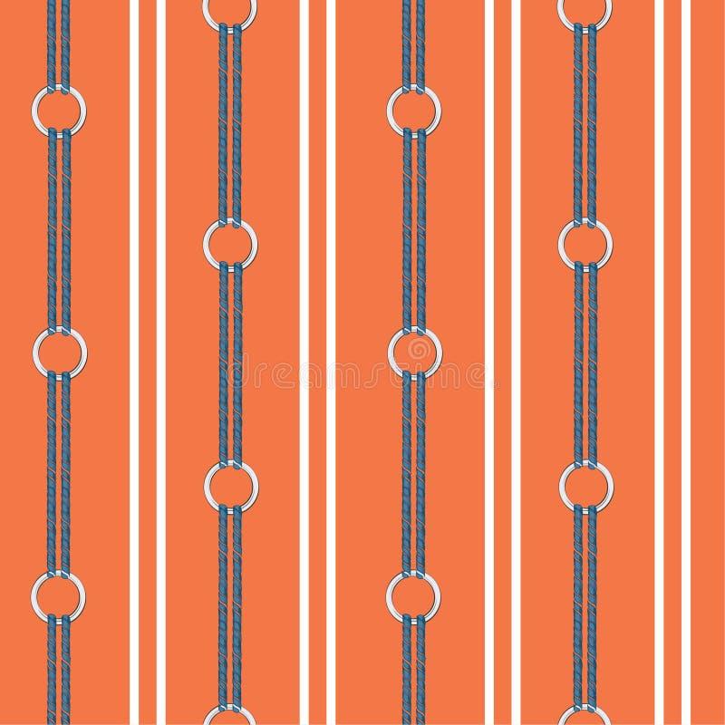 Żywy pomarańczowy Bezszwowy wektoru wzoru tło z ręka rysującym łańcuchem i lato nautyczna arkana w pionowo lampasie, ilustracja wektor