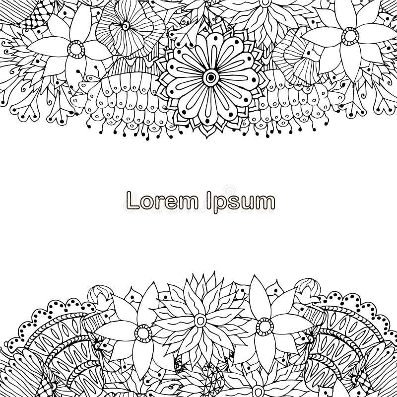 彩图的,antistress页,Lorem ipsum开花的单色背景,手拉 向量例证
