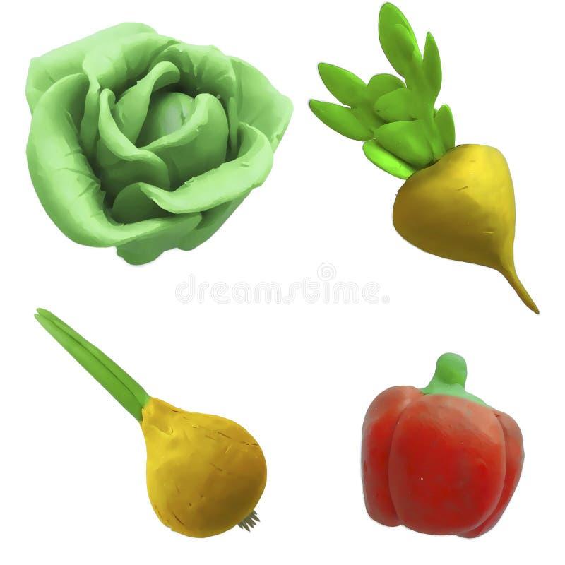 彩色塑泥菜1 免版税库存照片