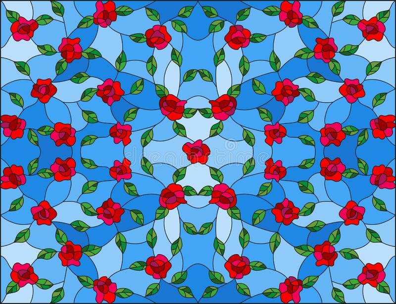 彩色玻璃例证有抽象花卉背景、红色交错的玫瑰和叶子在蓝色背景 向量例证