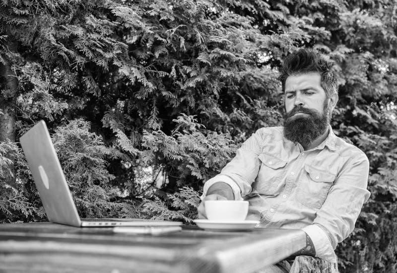 当坐与膝上型计算机时,供以人员有胡子的行家做饮料咖啡的停留并且认为 人喝咖啡松弛大阳台 库存图片